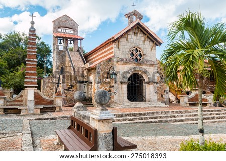 Saint Stanislaus Church - re-creation of a mediterranean tuscan style european village, Altos de Chavon, La Romana, Dominican Republic - stock photo