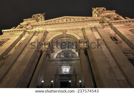Saint Stephen's Basilica in Budapest, Hungary. Roman Catholic basilica in Budapest, Hungary. It is named in honor of Stephen, the first King of Hungary, whose right hand is housed in the reliquary. - stock photo