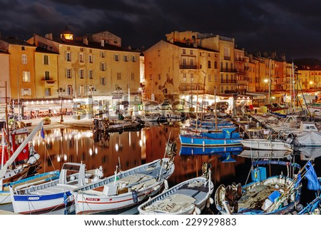 SAINT-TROPEZ, FRANCE - NOVEMBER 5, 2014: Port at night. - stock photo