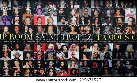 SAINT TROPEZ, FRANCE - OCTOBER 20,2014: Wall of famous VIP club JEAN ROCH, SAINT-TROPEZ, October 20, 2014 - stock photo