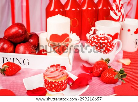 Saint Valentine red and white holiday decor in studio - stock photo