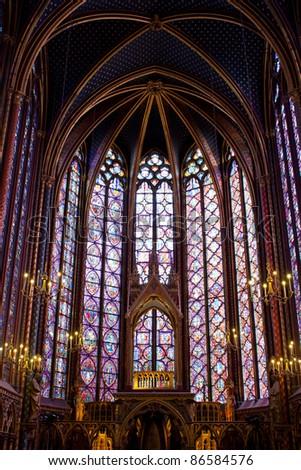 Sainte-Chapelle (Holy Chapel) in Paris - stock photo