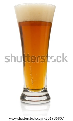 Saison red beer on white background - stock photo
