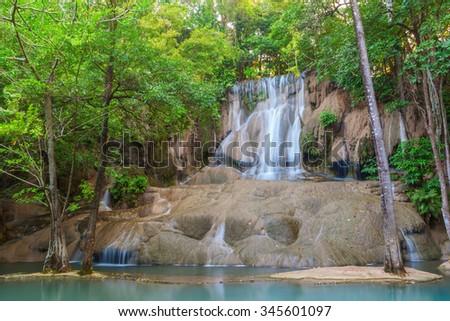 Saiyoknoi waterfall in green forest, Thailand - stock photo