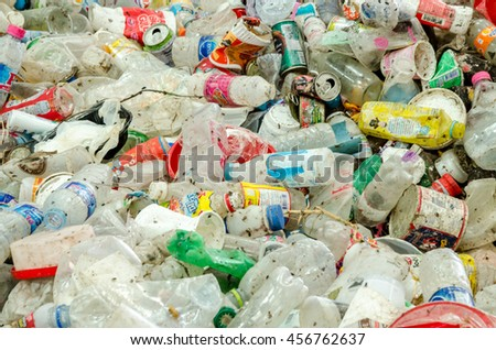 SAKAEO PROVINCE, THAILAND-JULY 11: Plastic and aluminium waste disposal open dump process.  Dump site at Sakaeo Province on JULY 11 , 2016 in SAKAEOI PROVINCE THAILAND - stock photo