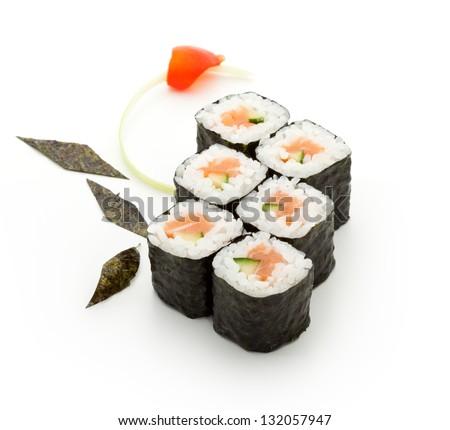 Sake Maki Sushi - Roll with Fresh Salmon and Cucumber - stock photo