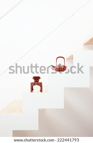 Sake of Japan placed on the stairs - stock photo