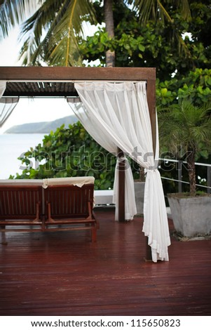 Sala at a resort in tropical Thailand. - stock photo