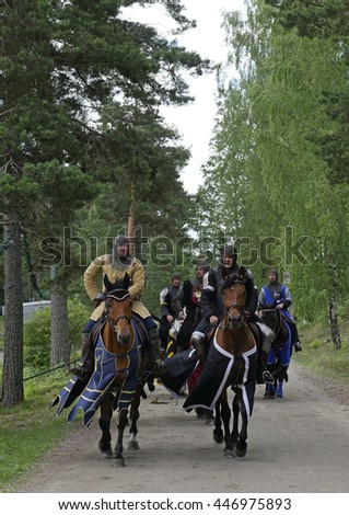 SALA, SWEDEN - JUNE 5: Unidentified people in the days of the silver mine celebration parade with knight and prinsess on horse on June 5, 2016 in Sala Sweden - stock photo
