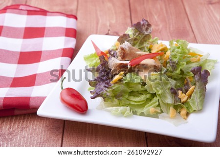 Salad and a napkin. - stock photo