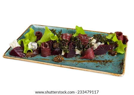 Salad appetizer of meat and vegetables. Isolated on white background. - stock photo
