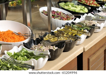 Salad buffet - a series of RESTAURANT images. - stock photo