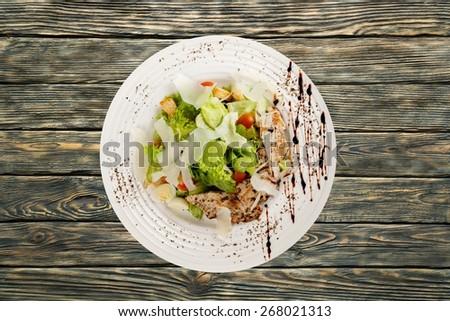 Salad. Caesar Salad with Chicken - stock photo