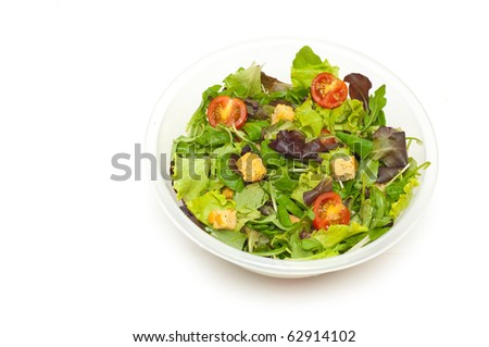 salad in a bowl isolated - stock photo