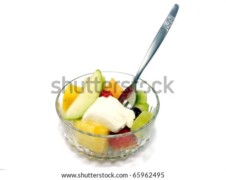 Salad in a Bowl with Fork - stock photo