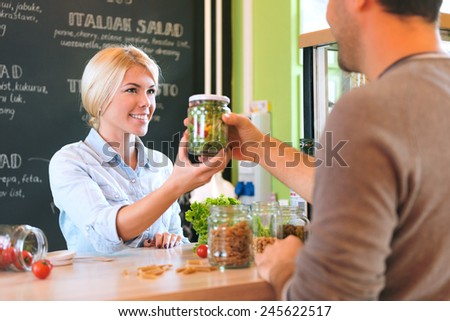 Salad in a jar - stock photo