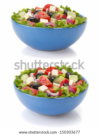 salad in bowl isolated on white background - stock photo