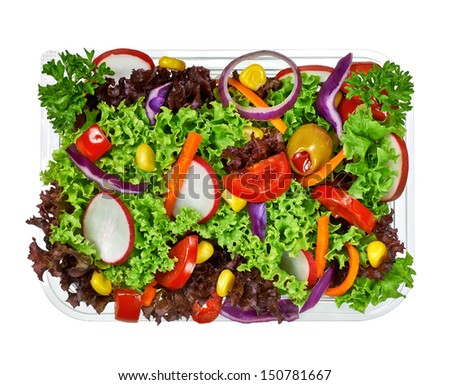 Salad in takeaway container from top on white background - stock photo