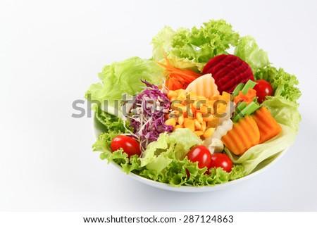 Salad isolated on white - stock photo