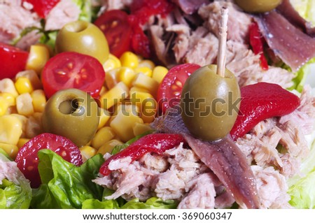 salad made with anchovies, tuna, olives and peppers - stock photo