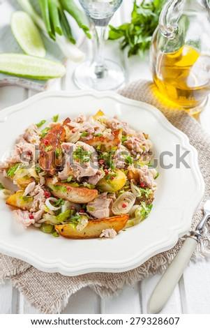 salad of baked potatoes, tuna, green onions and parsley - stock photo