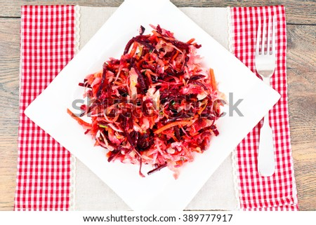 Salad of Beets and Carrots with Sauerkraut, Spices Studio Photo - stock photo