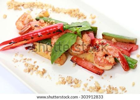 salad of shrimp - stock photo