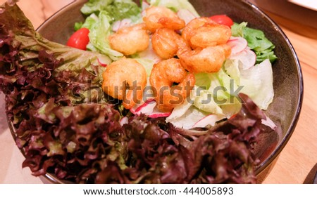 salad of shrimp and vegetables. - stock photo