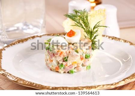 salad Olivier - stock photo