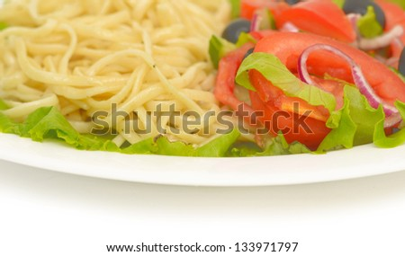 salad on a plate isolated on white - stock photo