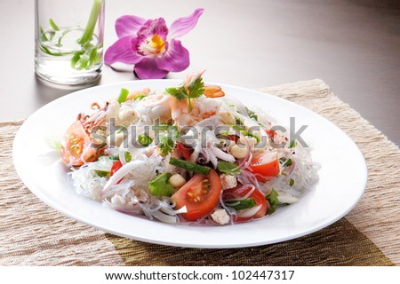 salad Seafood Thai Style in thai restaurant - stock photo