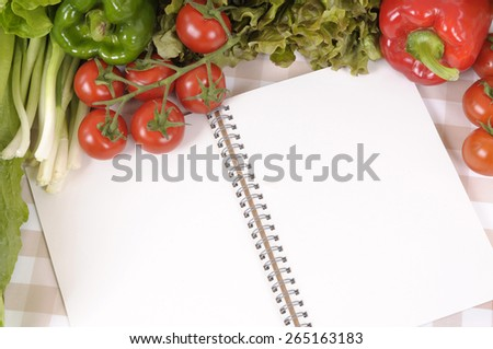 Salad selection, cookbook, copy space, top view - stock photo
