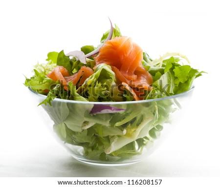 Salad - smoked salmon with vegetables - stock photo