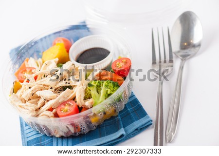 Salad soba with vegetables and shred chicken cooked by clean food concept in lunch box - stock photo