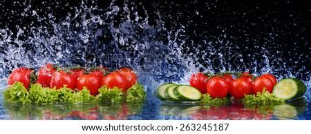 Salad, tomato and with water drop splash - stock photo