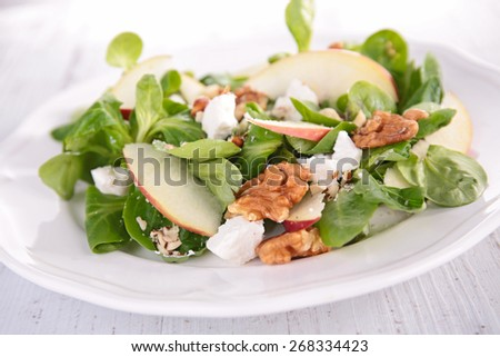 salad with apple,walnut and cheese - stock photo