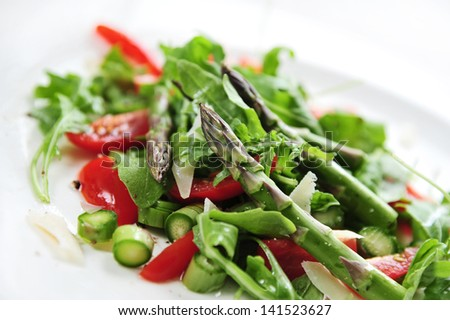 salad with asparagus - stock photo