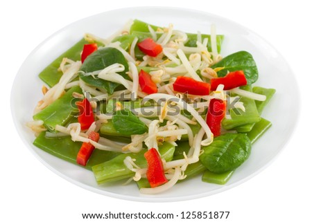 salad with bean sprouts on the plate on white background - stock photo