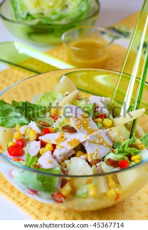 boiled chicken meat,pineapple,raisin and corn with honey-mustard sauce ...