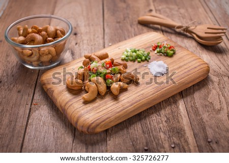 Salad with cashew nuts - stock photo