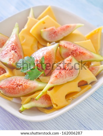 salad with cheese and figs - stock photo