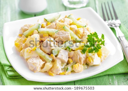 Salad with chicken and pineapple - stock photo