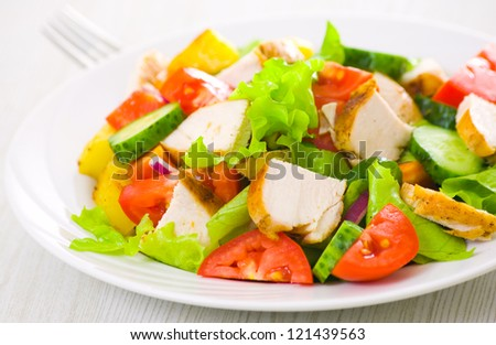 salad with chicken and vegetables - stock photo