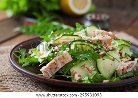 Salad with chicken and zucchini - stock photo