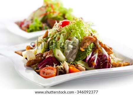 Salad with Chicken, Tomatoes and Cucumbers - stock photo