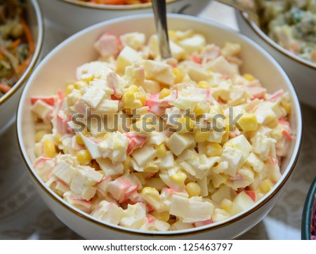 Salad with crab meat and corn - stock photo