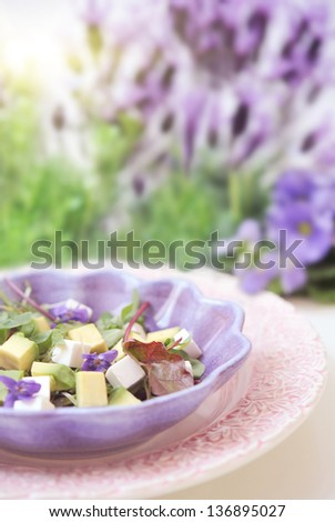 Salad with feta cheese, avocado, violets and many flowers in background - stock photo