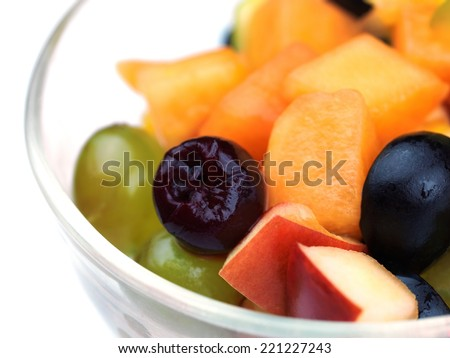 salad with fresh fruits and berries healthy food isolated on white backgound - stock photo