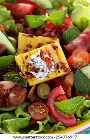 Salad with fresh vegetables, grilled polenta and bacon - stock photo