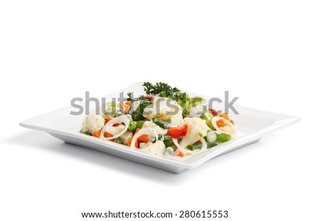 Salad with fresh vegetables, isolated - stock photo